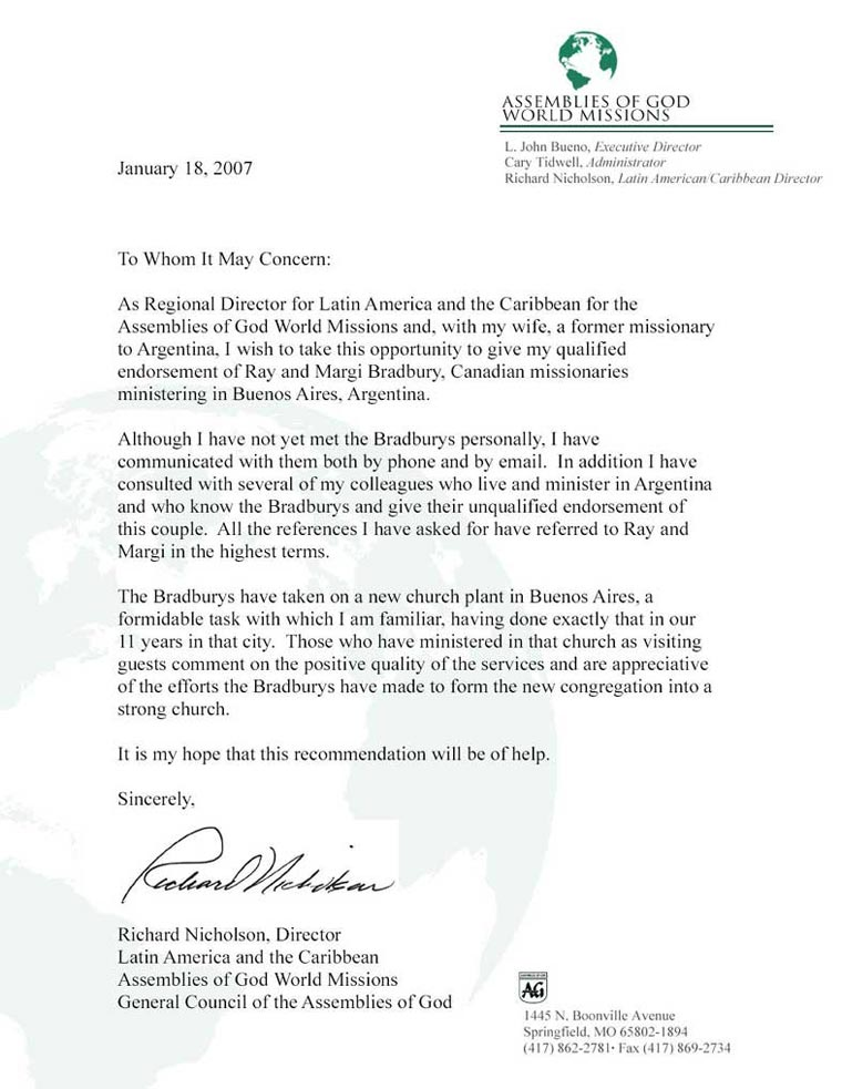 Reference Letter Assembly of God USA